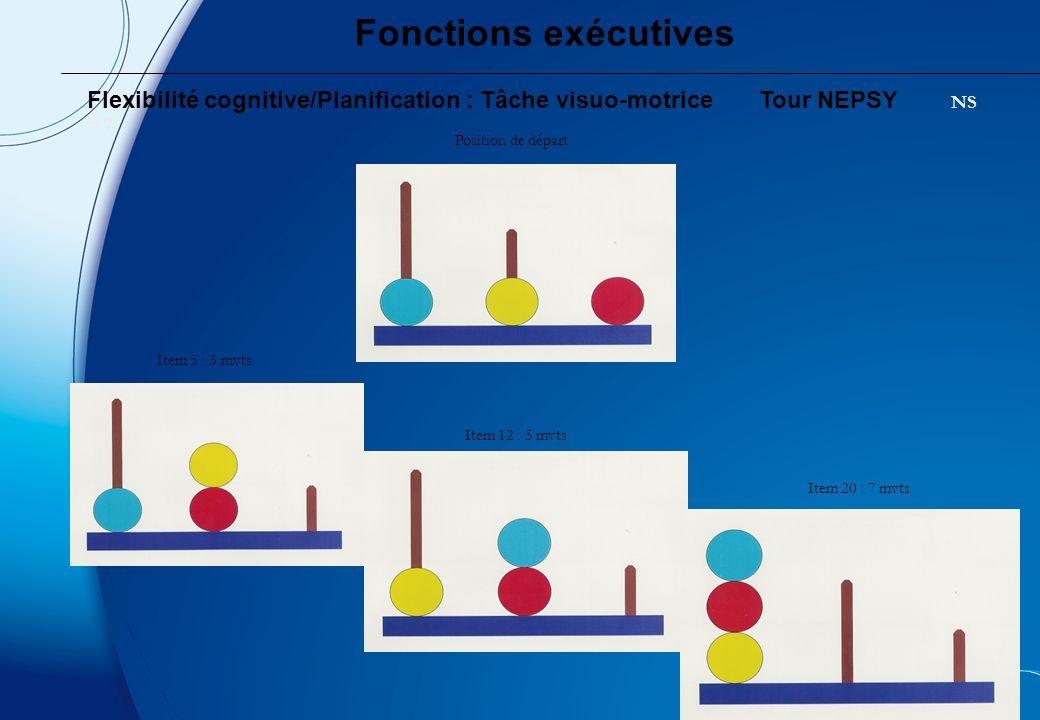 Fonctions exécutives Flexibilité cognitive/Planification : Tâche visuo-motrice Tour NEPSY NS = 7. Position de départ.