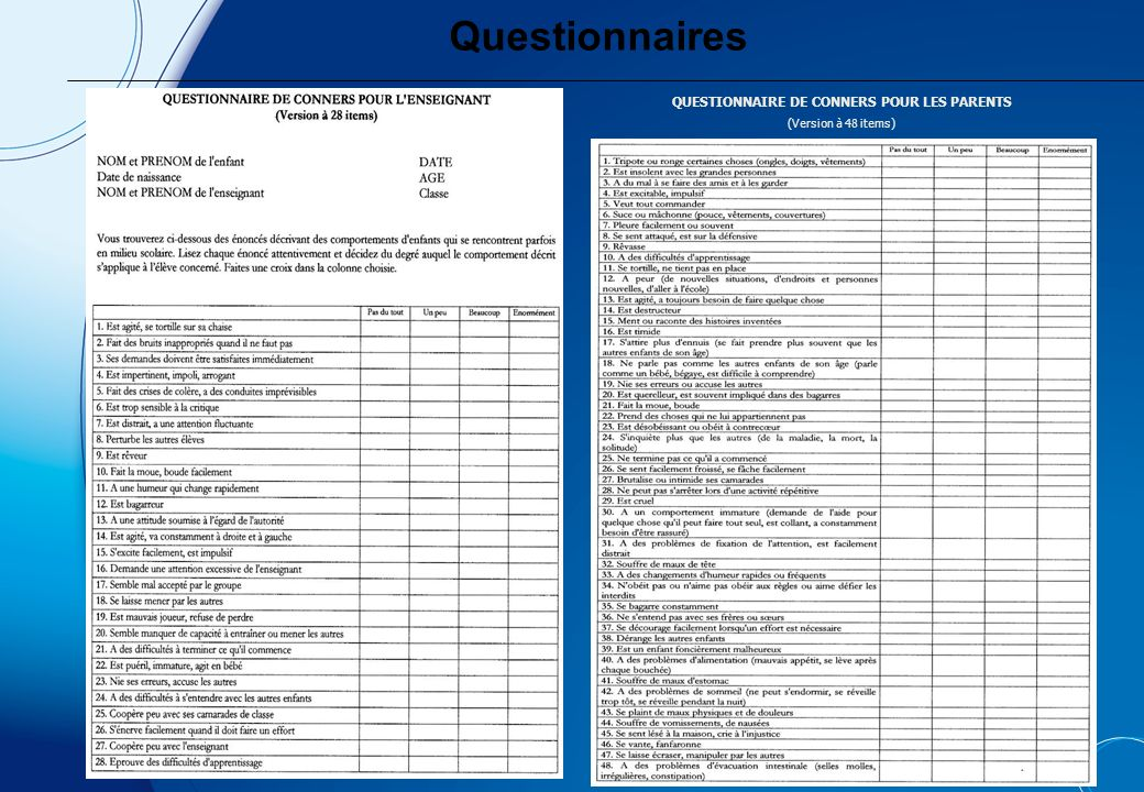 QUESTIONNAIRE DE CONNERS POUR LES PARENTS