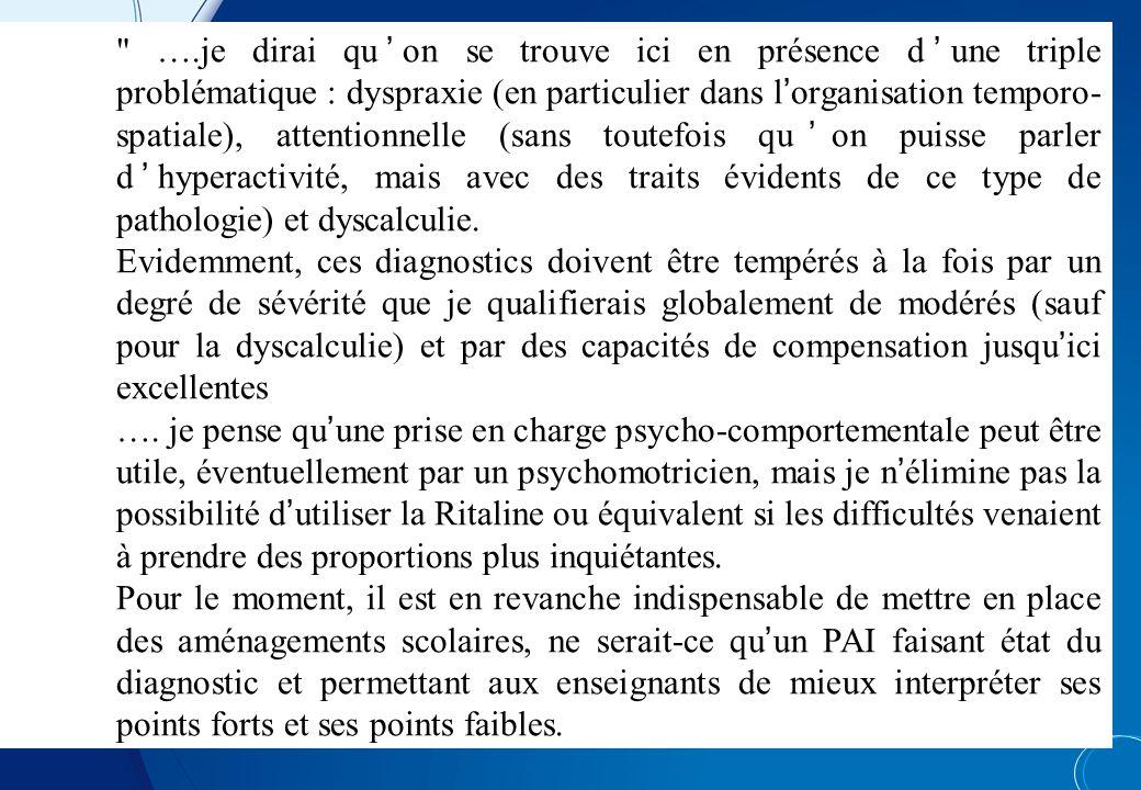 ….je dirai qu'on se trouve ici en présence d'une triple problématique : dyspraxie (en particulier dans l'organisation temporo-spatiale), attentionnelle (sans toutefois qu'on puisse parler d'hyperactivité, mais avec des traits évidents de ce type de pathologie) et dyscalculie.