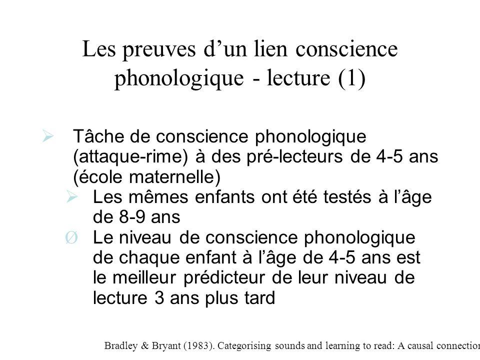 Les preuves d'un lien conscience phonologique - lecture (1)