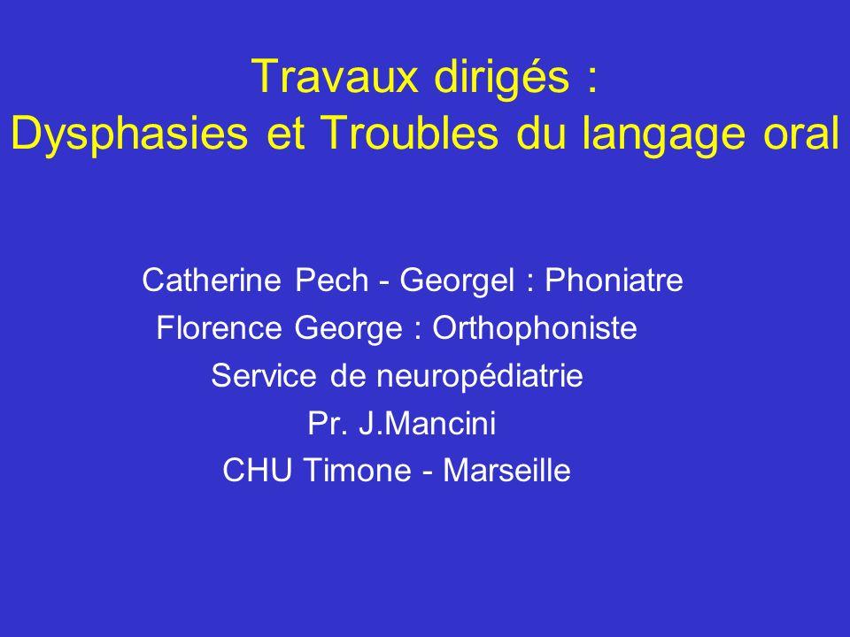 Travaux dirigés : Dysphasies et Troubles du langage oral