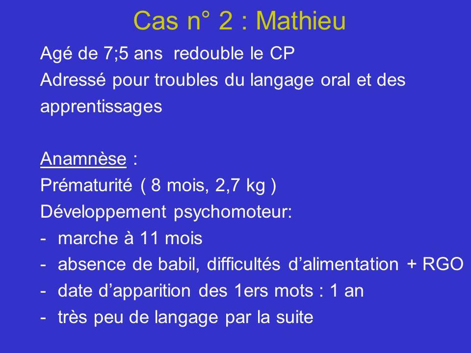 Cas n° 2 : Mathieu Agé de 7;5 ans redouble le CP