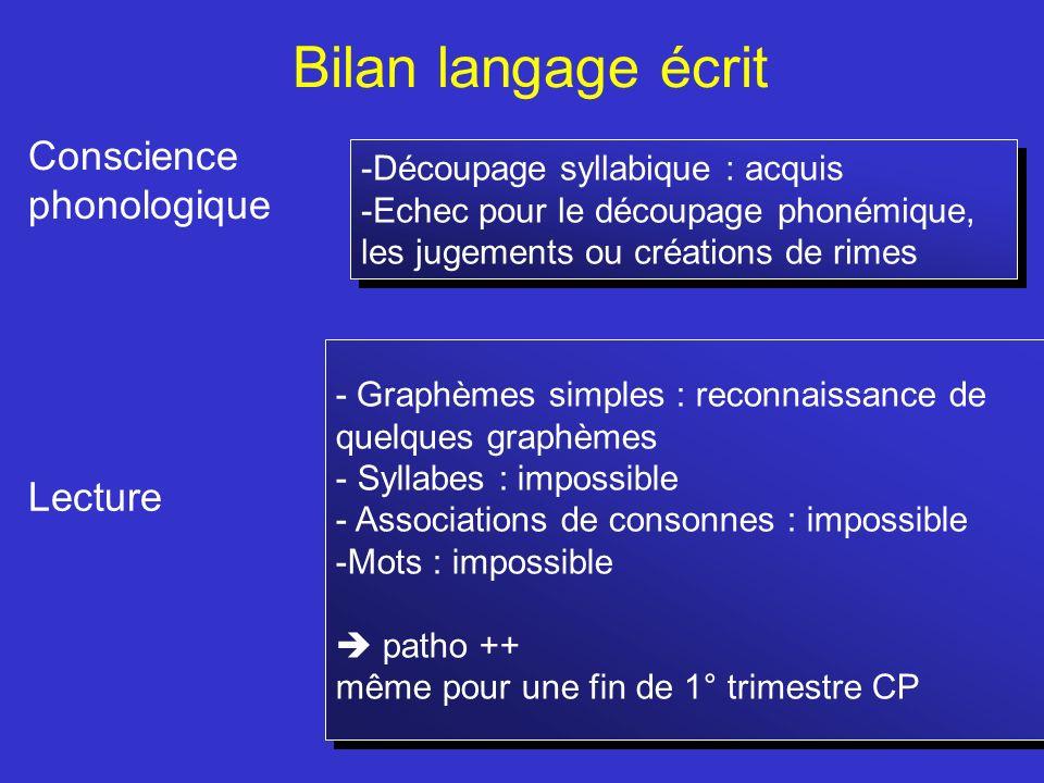 Bilan langage écrit Conscience phonologique Lecture