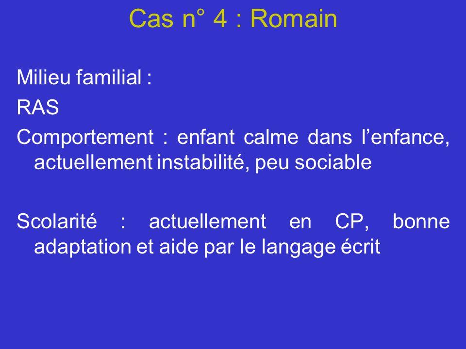 Cas n° 4 : Romain Milieu familial : RAS