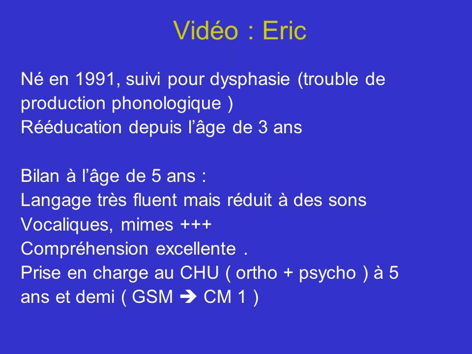 Vidéo : Eric Né en 1991, suivi pour dysphasie (trouble de