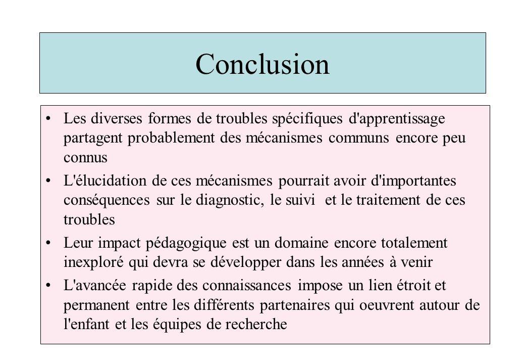 Conclusion Les diverses formes de troubles spécifiques d apprentissage partagent probablement des mécanismes communs encore peu connus.