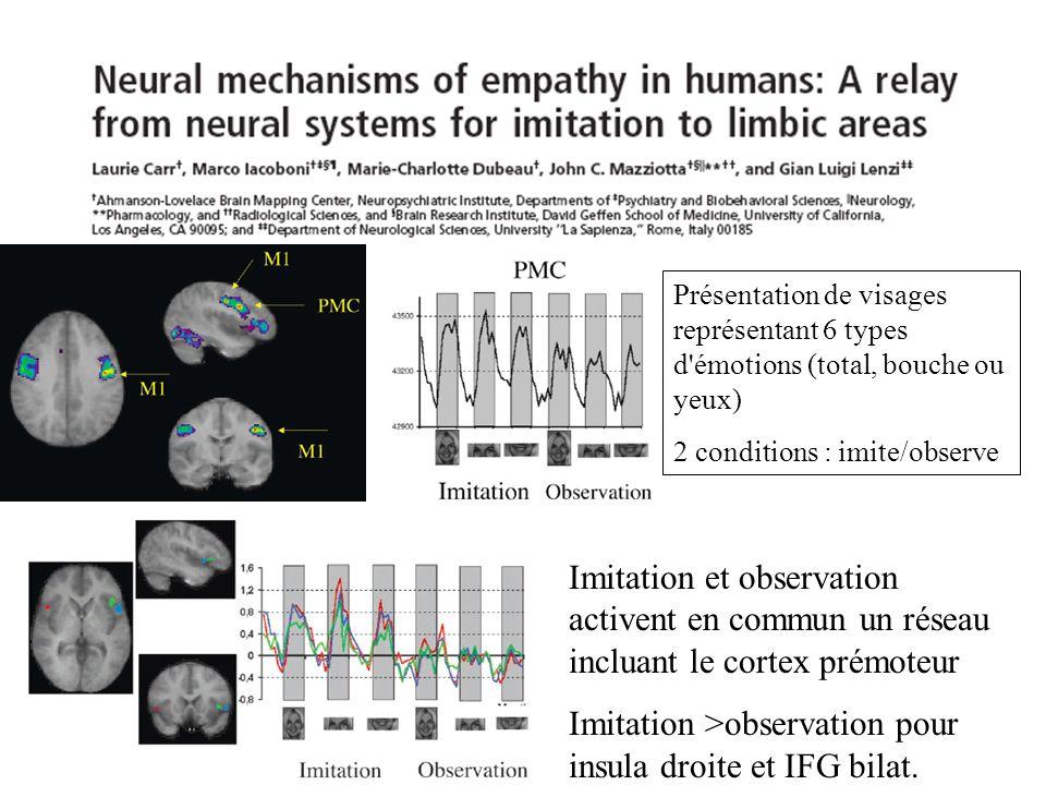 Imitation >observation pour insula droite et IFG bilat.
