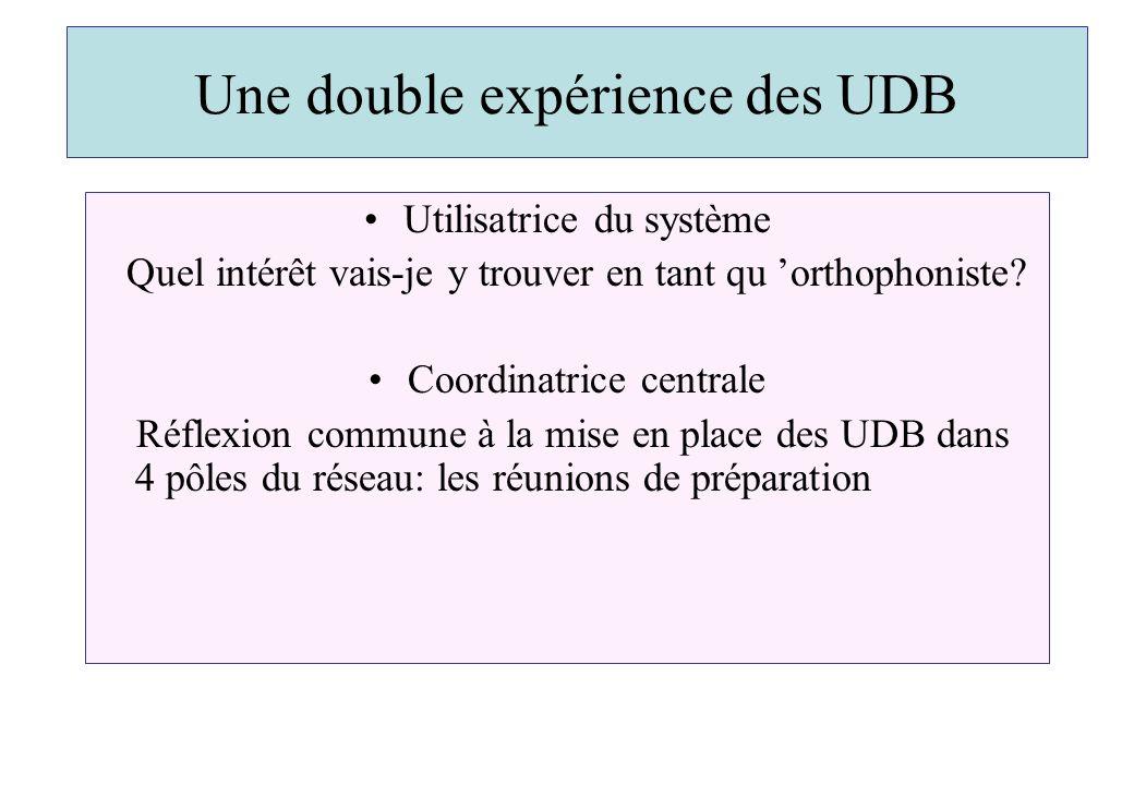 Une double expérience des UDB