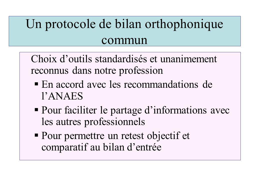 Un protocole de bilan orthophonique commun