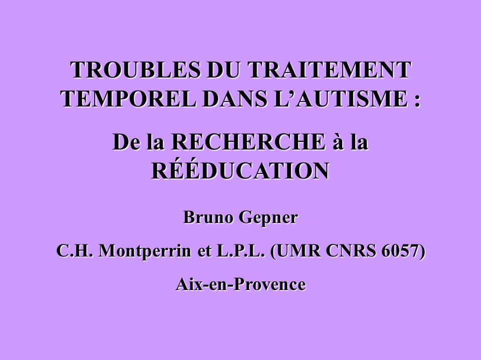 TROUBLES DU TRAITEMENT TEMPOREL DANS L'AUTISME :