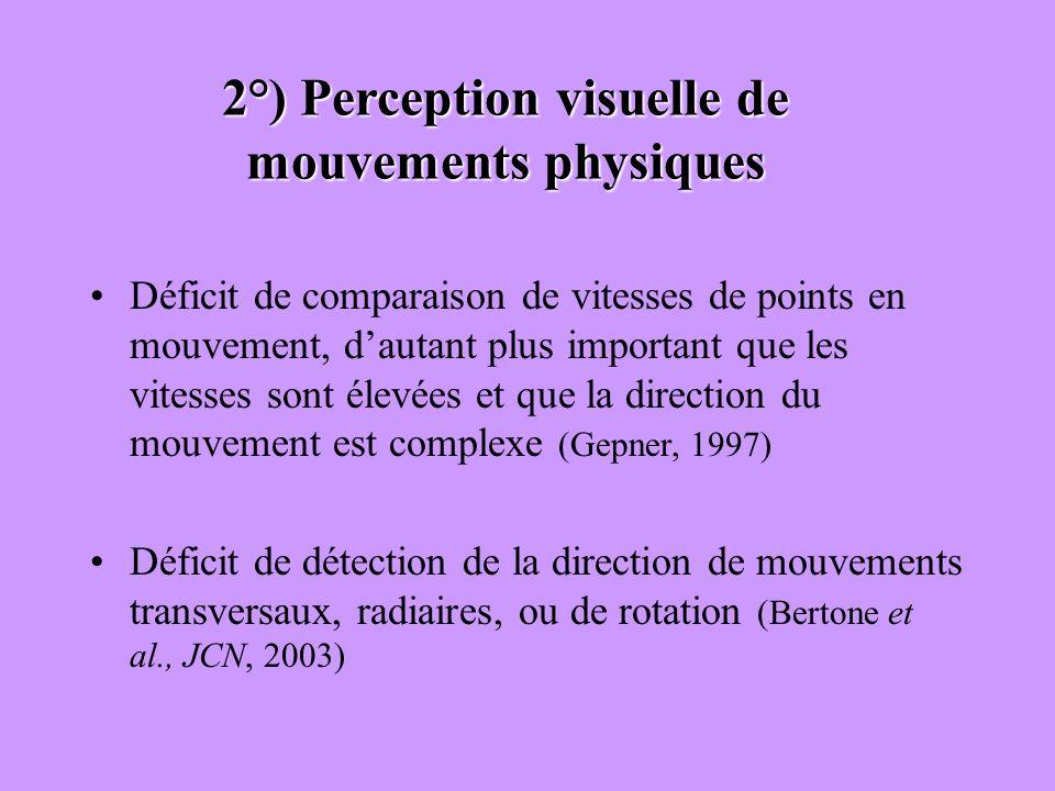 2°) Perception visuelle de mouvements physiques