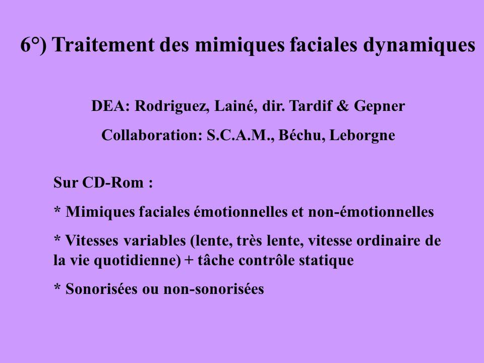 6°) Traitement des mimiques faciales dynamiques