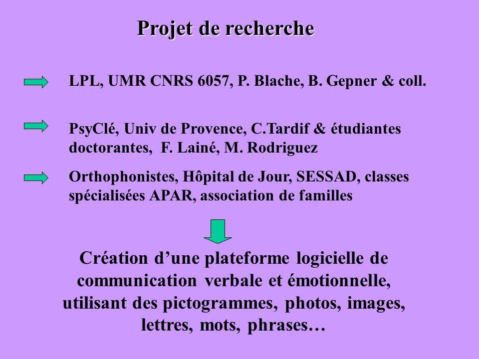 Projet de recherche LPL, UMR CNRS 6057, P. Blache, B. Gepner & coll.