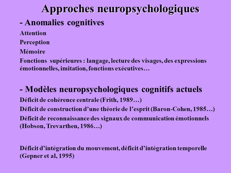 Approches neuropsychologiques