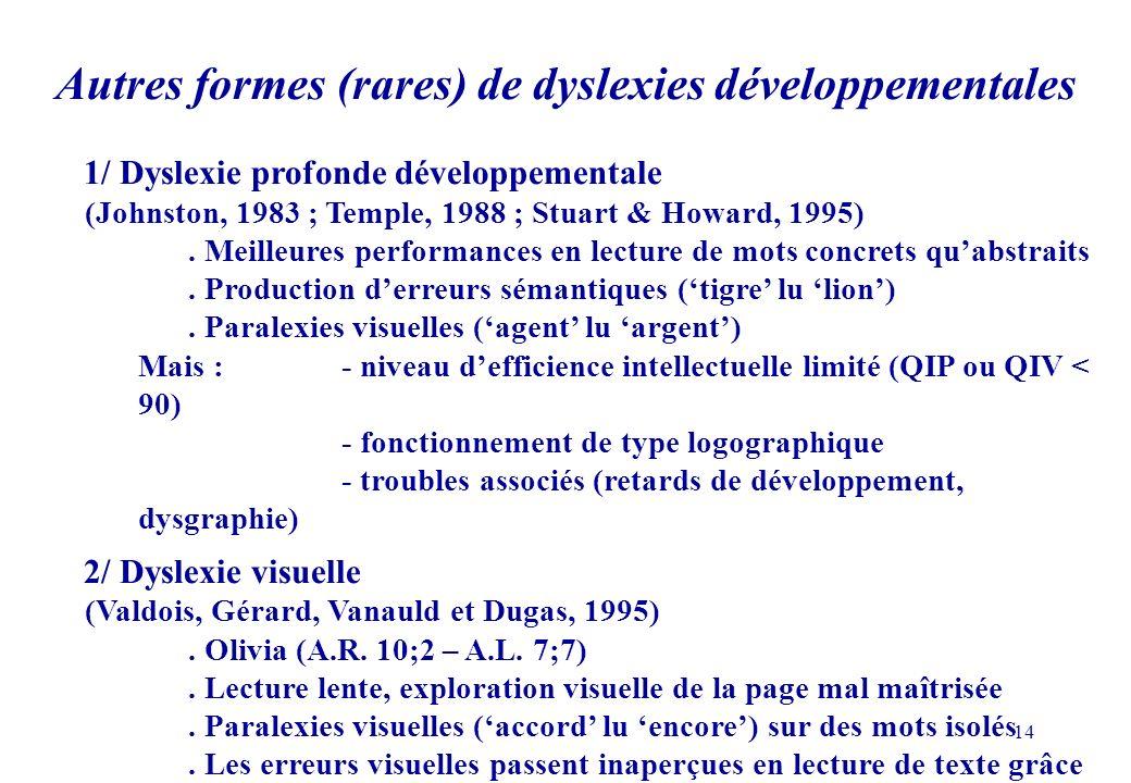 Autres formes (rares) de dyslexies développementales