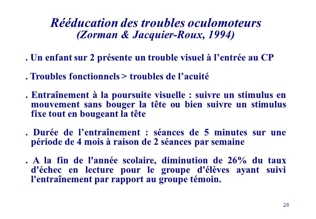 Rééducation des troubles oculomoteurs (Zorman & Jacquier-Roux, 1994)