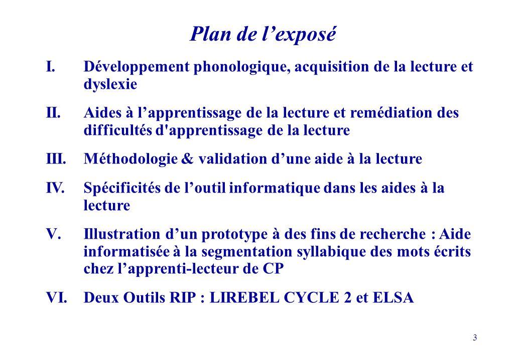 Plan de l'exposé I. Développement phonologique, acquisition de la lecture et dyslexie.