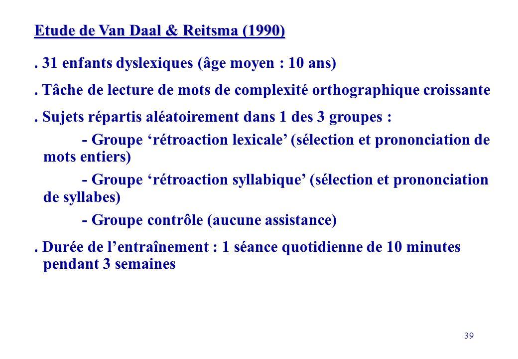 Etude de Van Daal & Reitsma (1990)