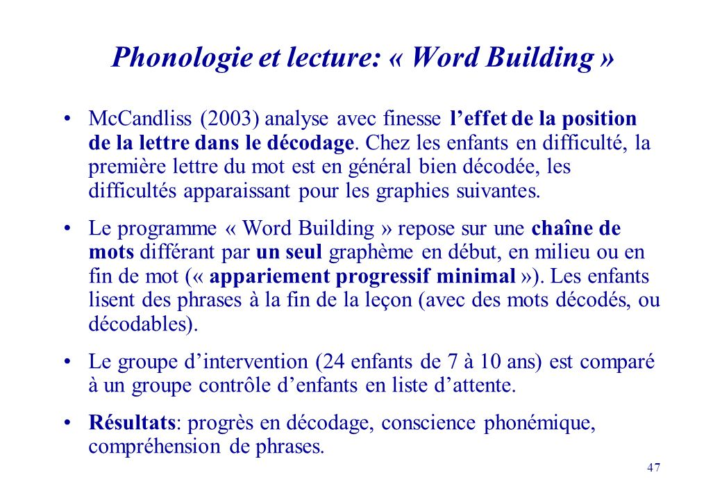 Phonologie et lecture: « Word Building »