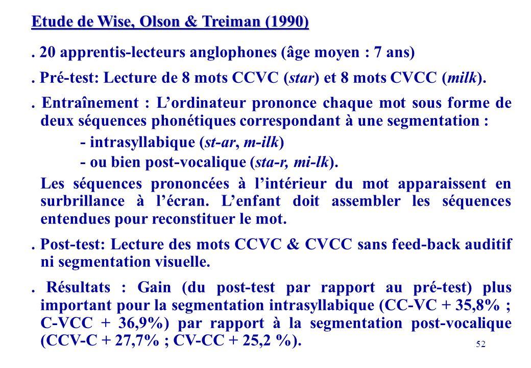 Etude de Wise, Olson & Treiman (1990)