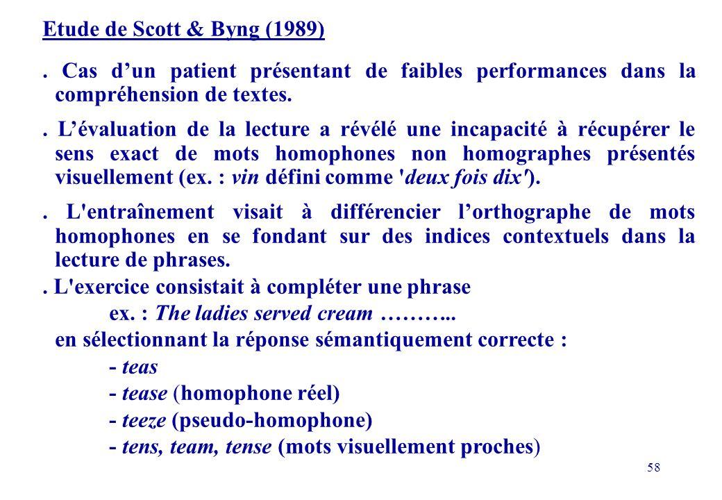 Etude de Scott & Byng (1989) . Cas d'un patient présentant de faibles performances dans la compréhension de textes.