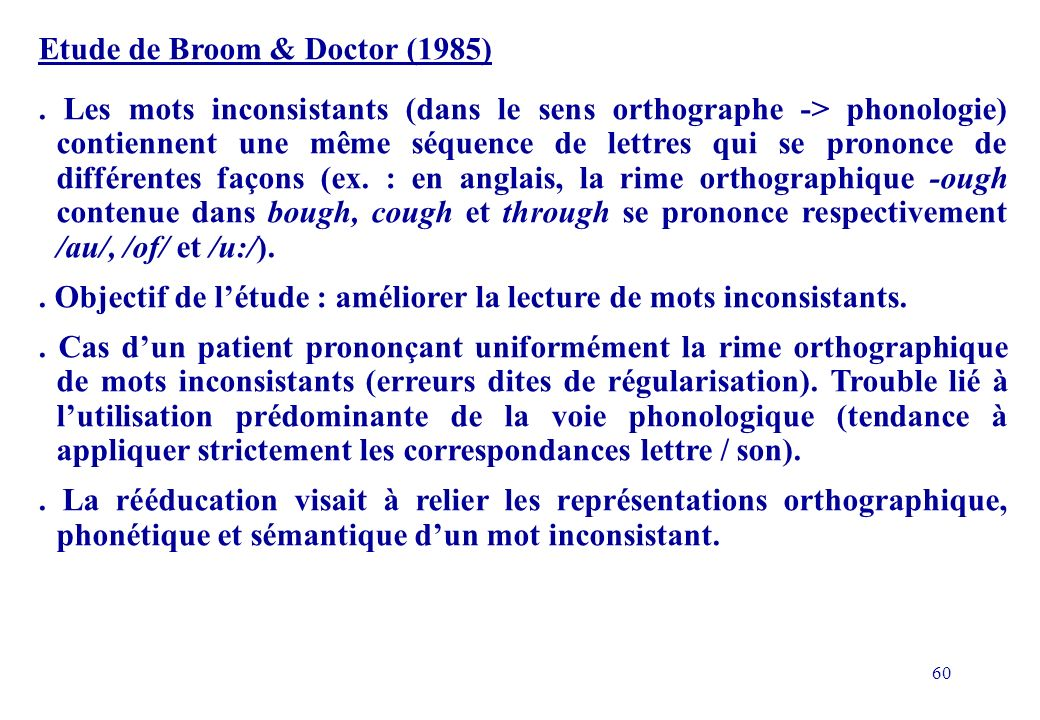 Etude de Broom & Doctor (1985)