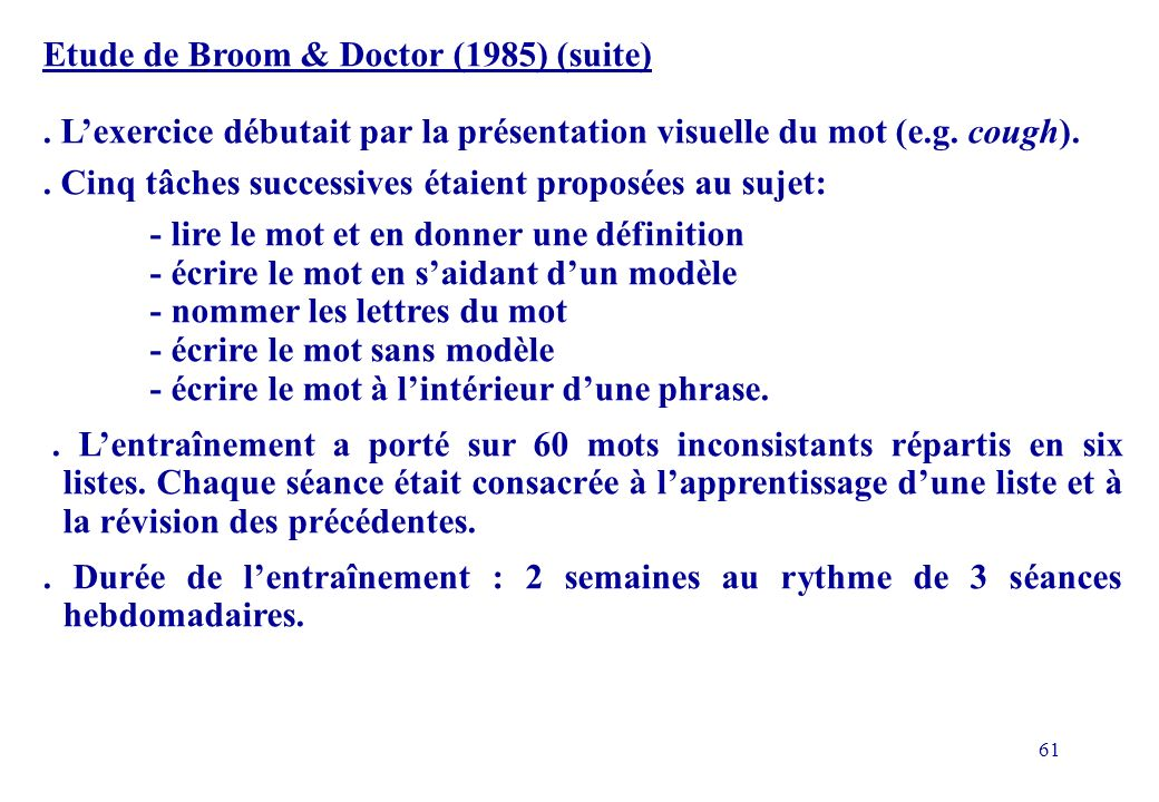 Etude de Broom & Doctor (1985) (suite)