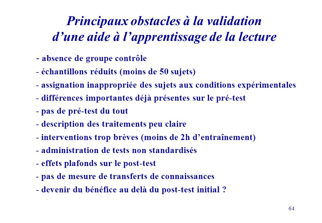 Principaux obstacles à la validation