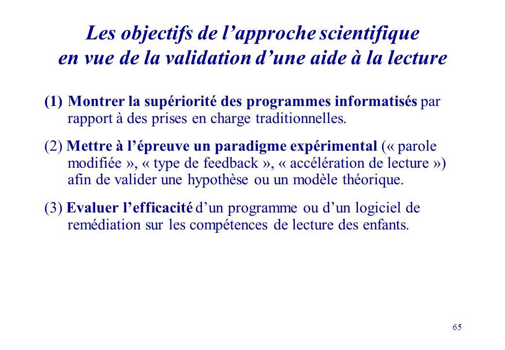 Les objectifs de l'approche scientifique en vue de la validation d'une aide à la lecture