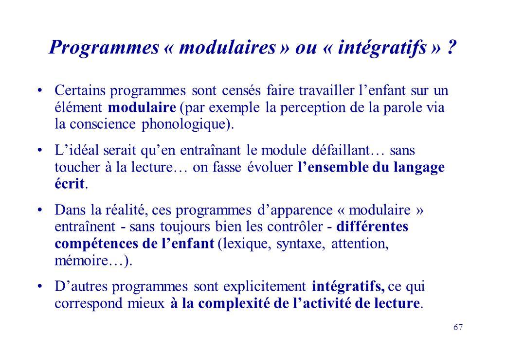 Programmes « modulaires » ou « intégratifs »
