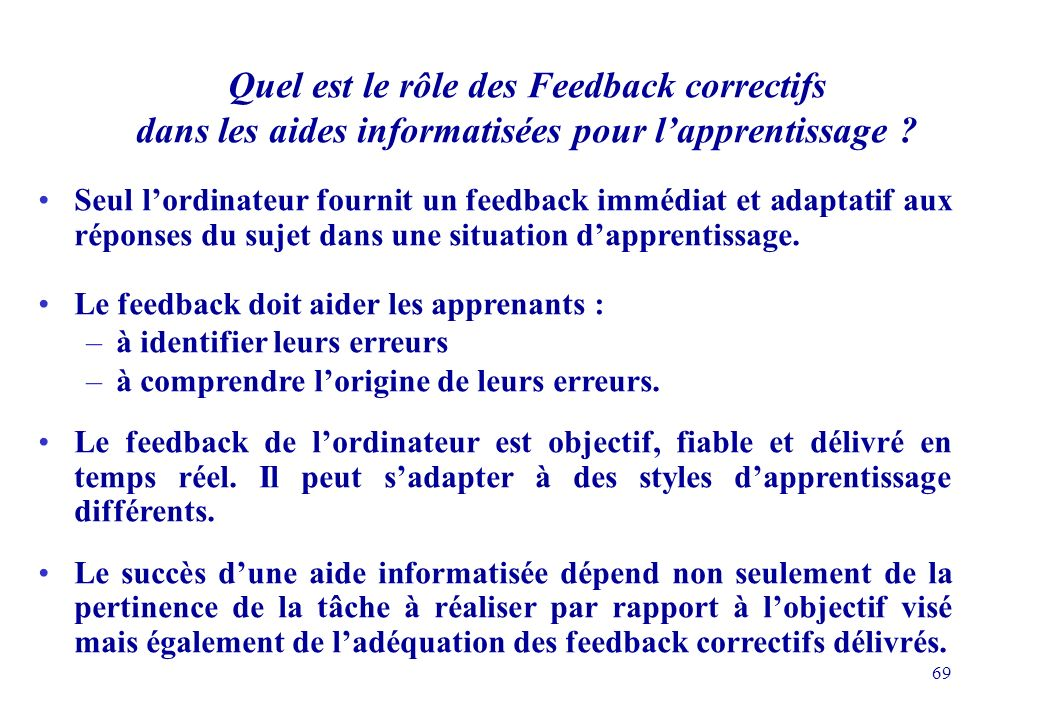 Quel est le rôle des Feedback correctifs dans les aides informatisées pour l'apprentissage
