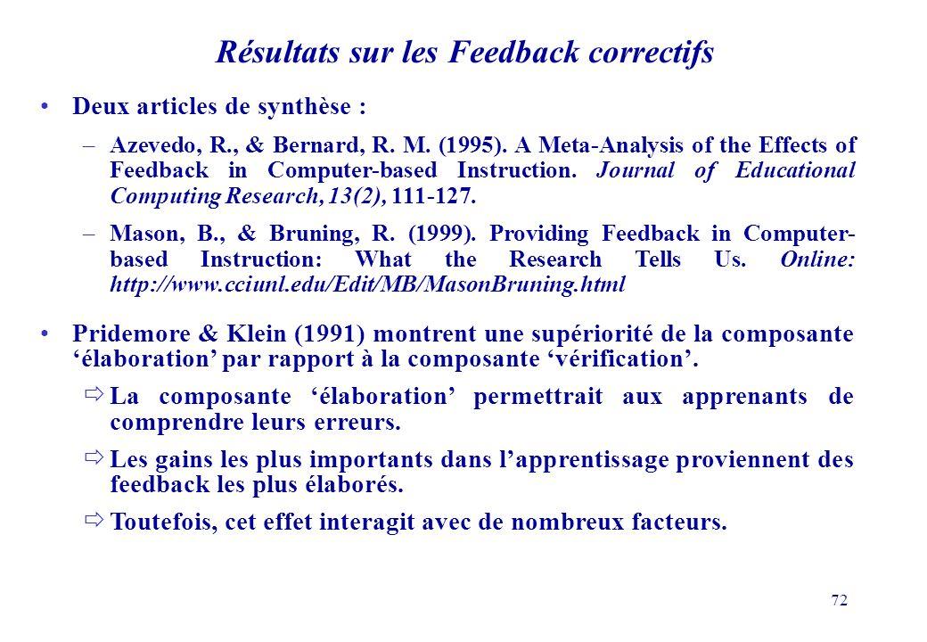 Résultats sur les Feedback correctifs