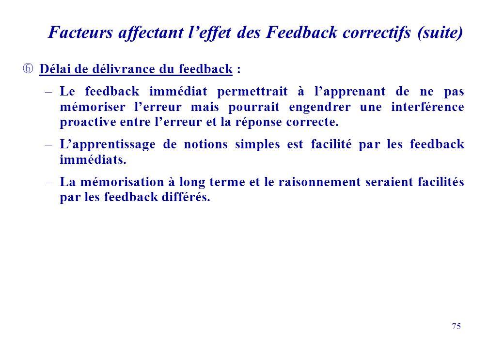 Facteurs affectant l'effet des Feedback correctifs (suite)