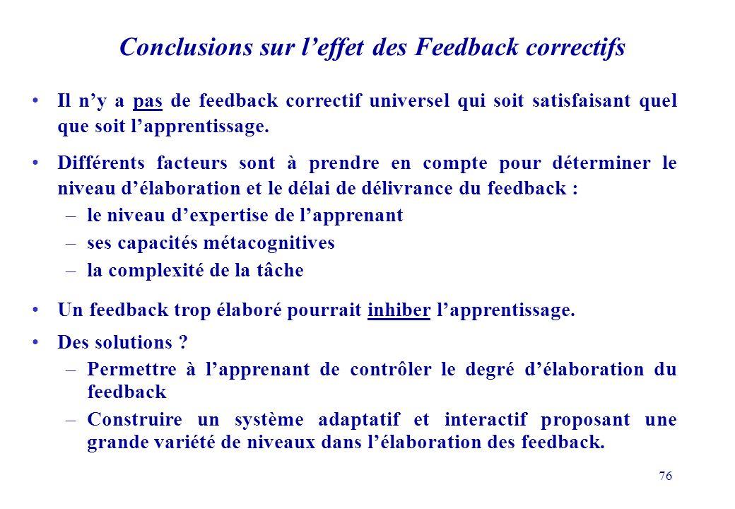 Conclusions sur l'effet des Feedback correctifs