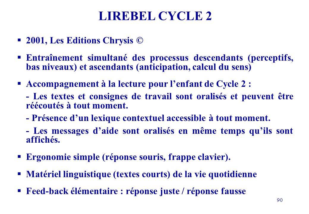 LIREBEL CYCLE 2 2001, Les Editions Chrysis ©