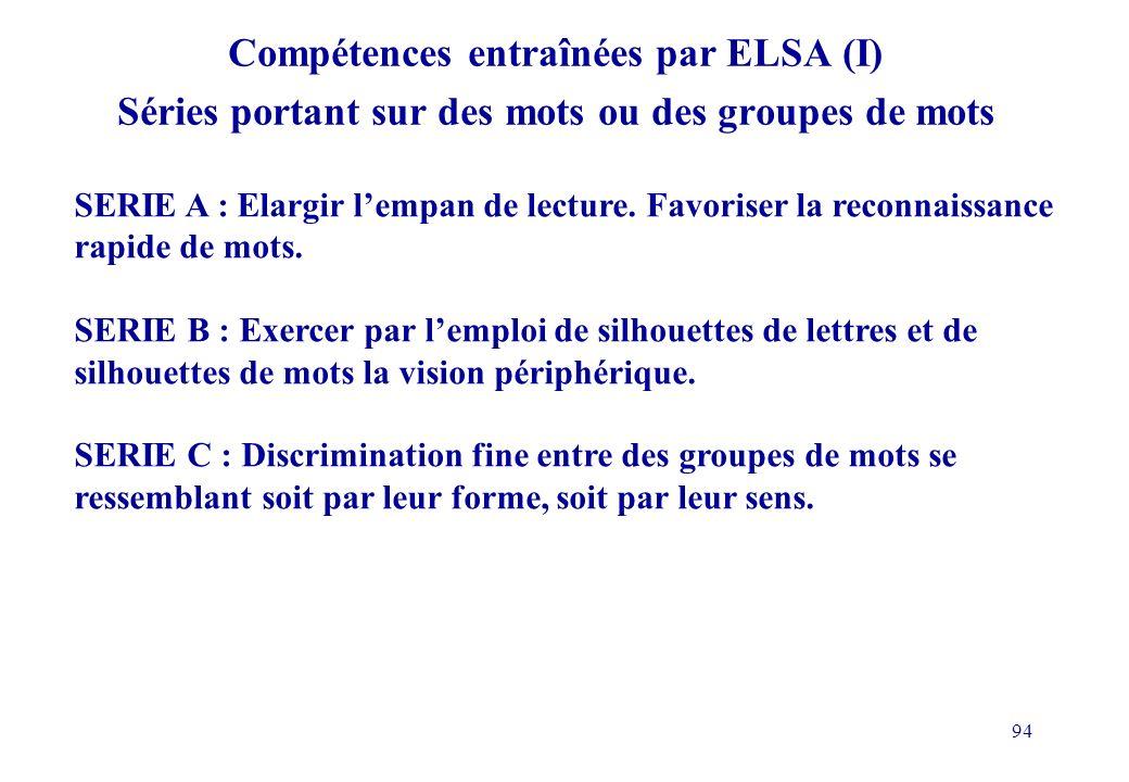Compétences entraînées par ELSA (I) Séries portant sur des mots ou des groupes de mots