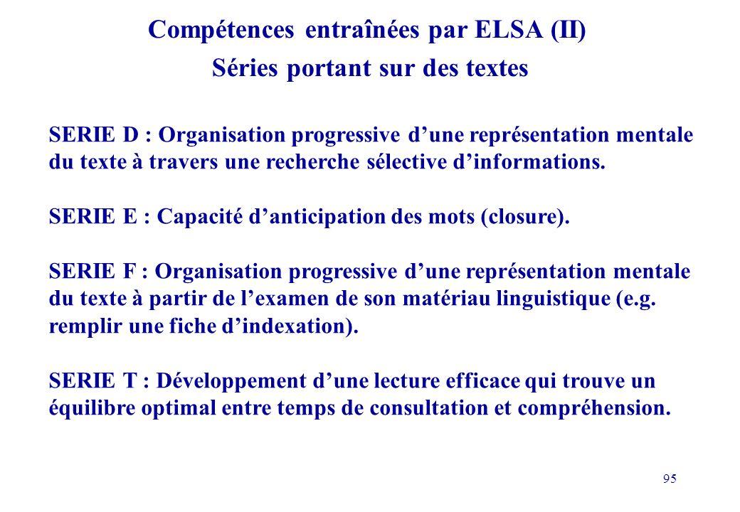 Compétences entraînées par ELSA (II) Séries portant sur des textes