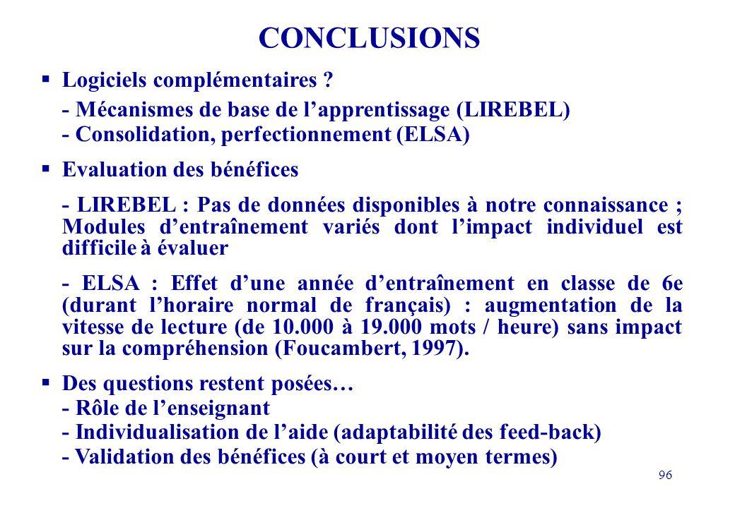 CONCLUSIONS Logiciels complémentaires