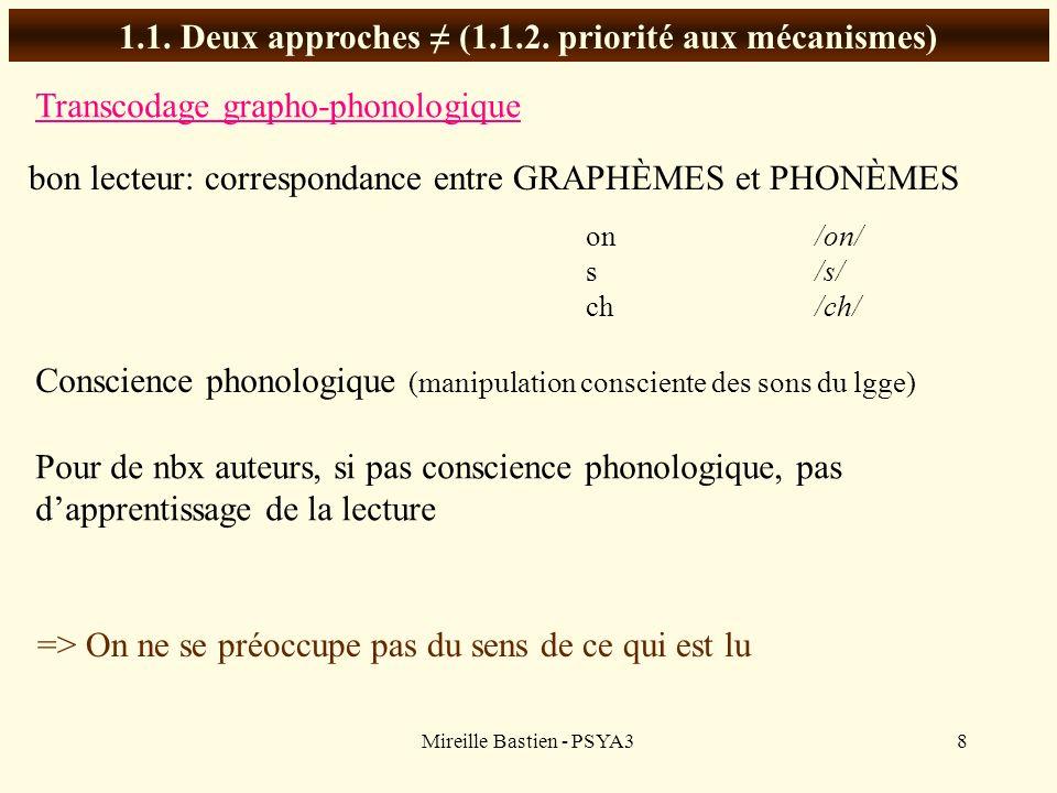 1.1. Deux approches ≠ (1.1.2. priorité aux mécanismes)