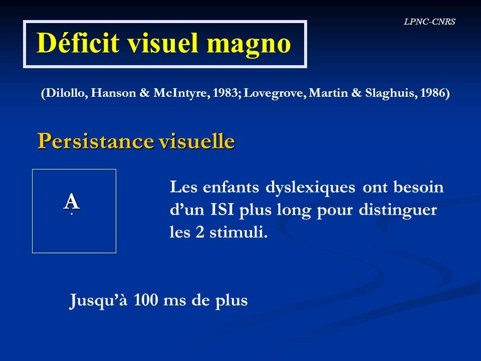 Déficit visuel magno Persistance visuelle A
