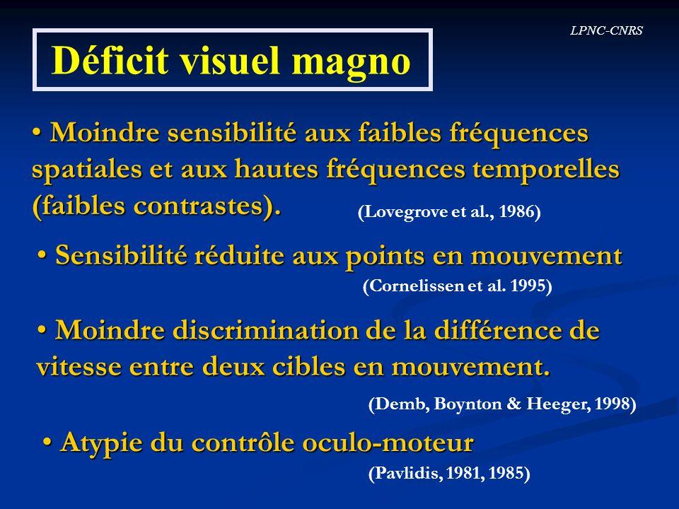Déficit visuel magno Moindre sensibilité aux faibles fréquences