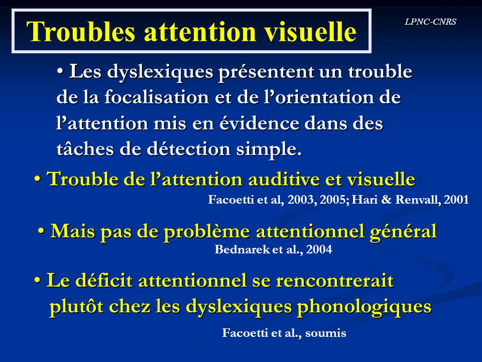 Troubles attention visuelle