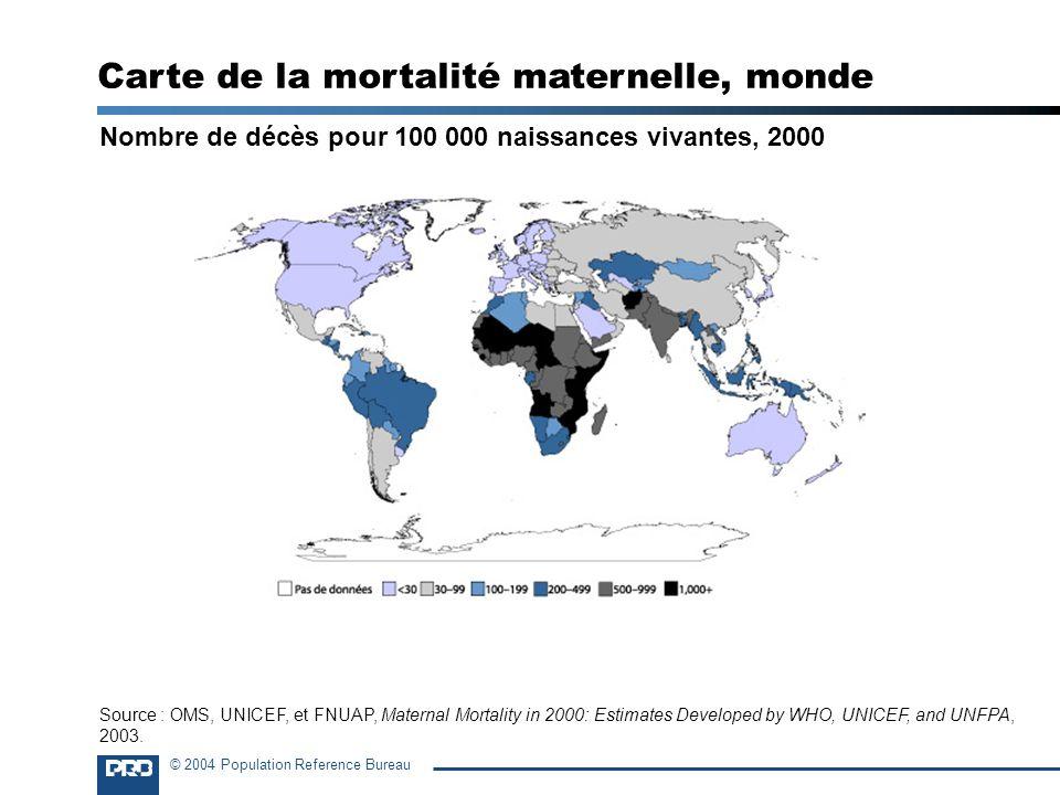 Carte de la mortalité maternelle, monde