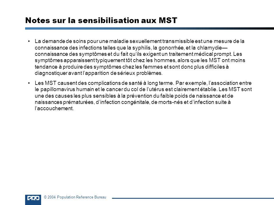 Notes sur la sensibilisation aux MST