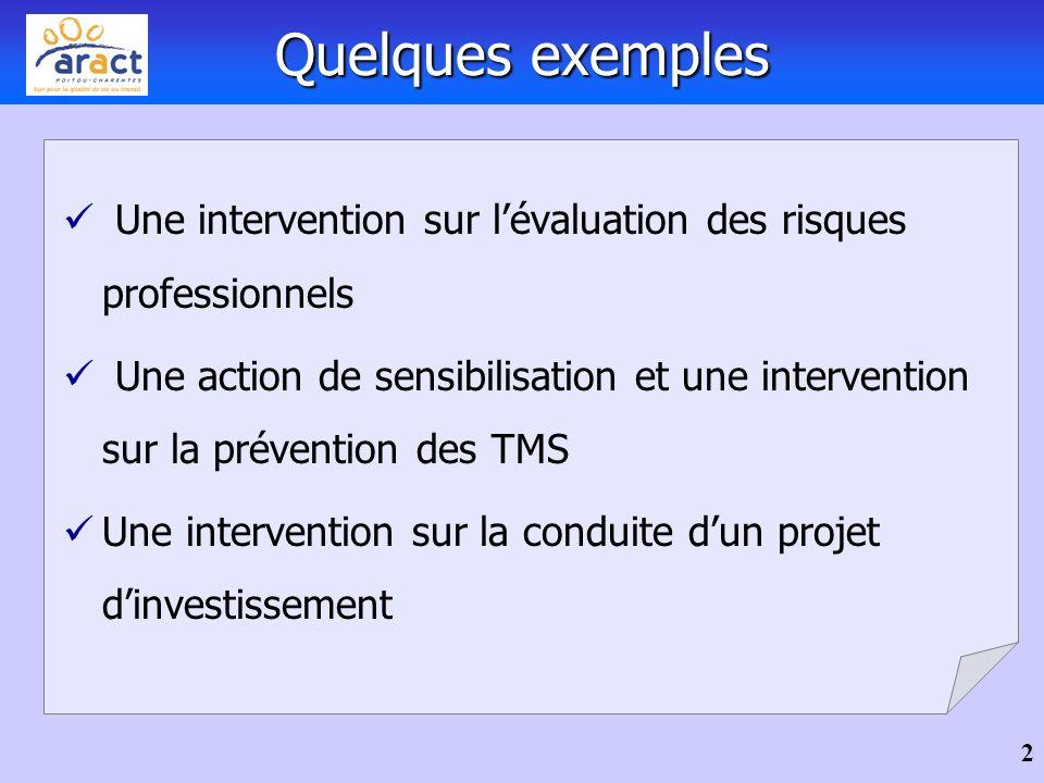 Quelques exemples Une intervention sur l'évaluation des risques professionnels.