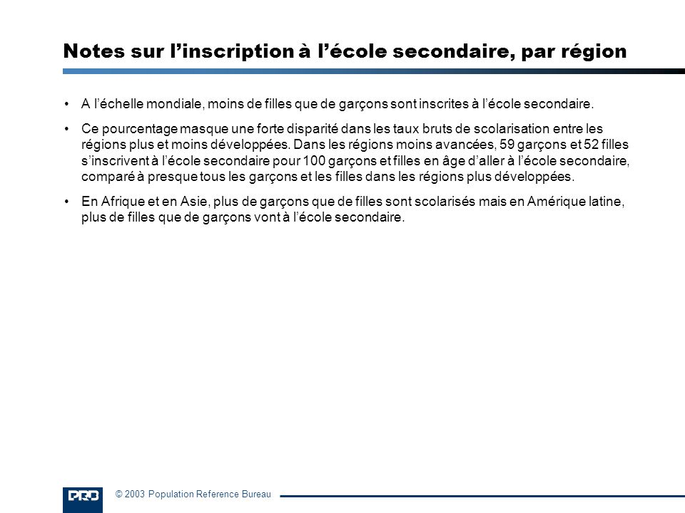 Notes sur l'inscription à l'école secondaire, par région