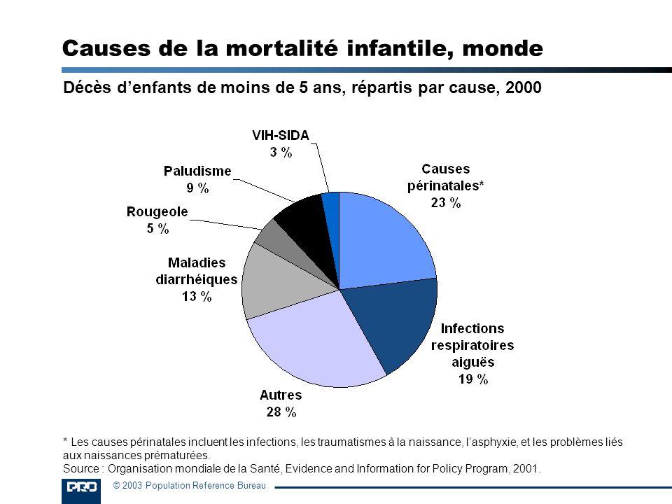 Causes de la mortalité infantile, monde