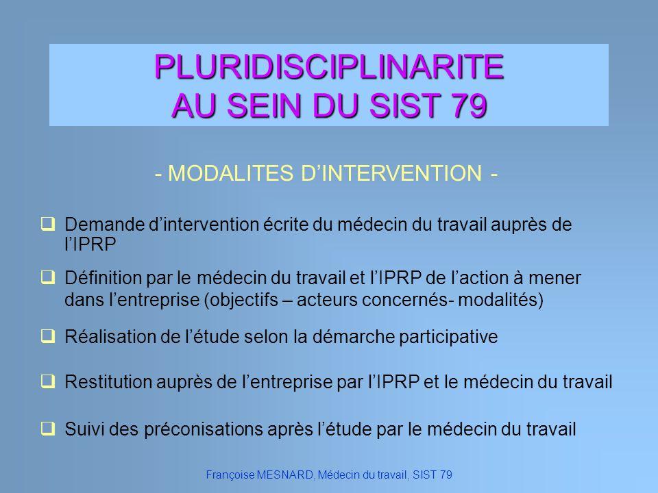 PLURIDISCIPLINARITE AU SEIN DU SIST 79 - MODALITES D'INTERVENTION -
