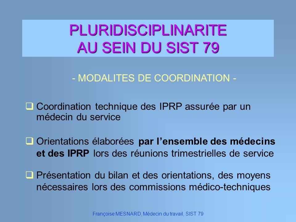 PLURIDISCIPLINARITE AU SEIN DU SIST 79 - MODALITES DE COORDINATION -