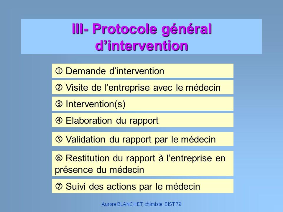 III- Protocole général d'intervention